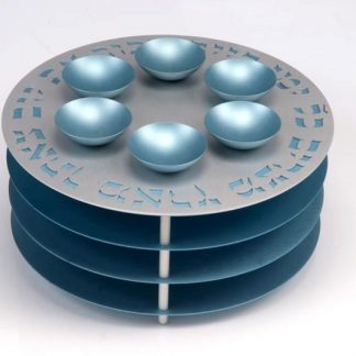 Agayof Seder Plate 3 Tier Teal